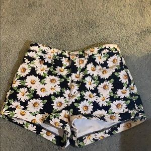 High waisted floral print shorts.